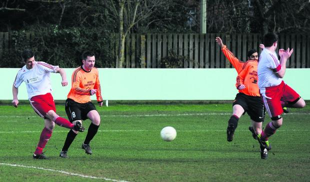 Oxford Mail: Abingdon United Res scorer Chris Hooper takes aim