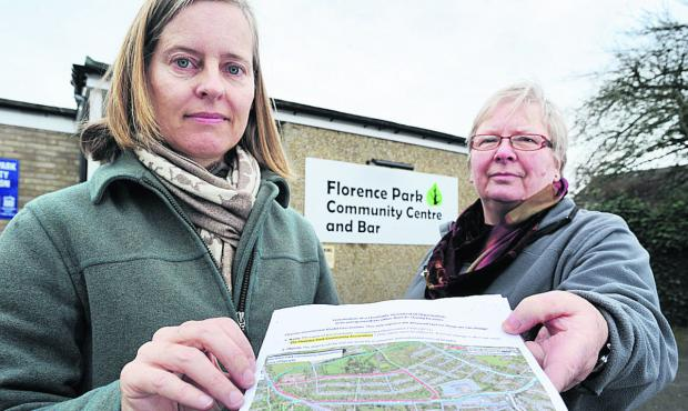 Florence Park Community Association vice-chairwoman Fiona Mullins, left, and treasurer Viv Peto with the map showing the existing and proposed areas               Picture: OX65739 Jon Lewis