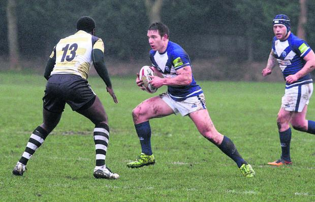 Matty Hadden with the ball in Oxford RL's opening day victory over London Skolars