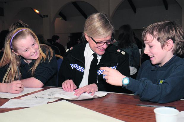 Oxford Mail: Chief Constable Sara Thornton with Bartholomew School pupils Alysha McCluskey, 11, and Louis Hynes, 12