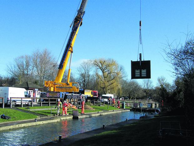EASY DOES IT: New lock gates are fitte