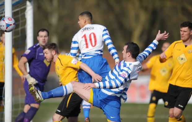 Oxford City's new signing, Mark Preece, almost scores in the opening minutes
