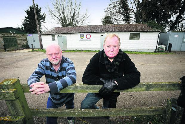 Oxford Mail: PROJECT: Old Marston Parish Council chairman Charlie Haynes, right, with parish council clerk Tim Cann at the Marston Saints football pavilion, which they wish to replace with a state-of-the-art building