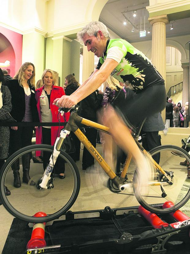 Oxford Mail: Dr Shpend Gerguri builds up some speed on a bamboo bike