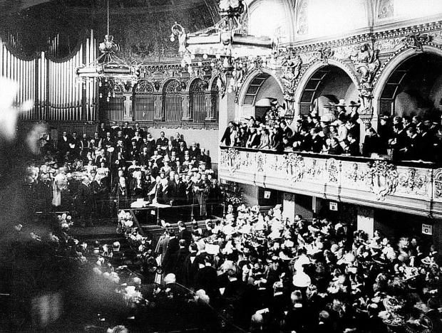 CEREMONY: The Prince of Wales, the future King Edward VII, opens the new Town Hall in May 1897, watched by a huge crowd in the main hall; the front of the Town Hall that year