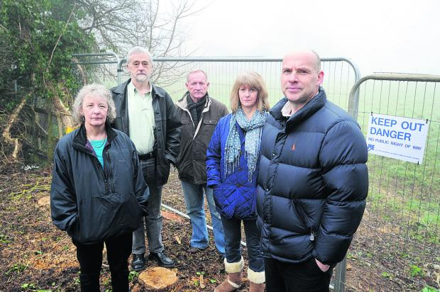 Webbs Way residents, from left, Linda and Keiron Ward, Matt Hunt, and Anne and Paul Webb