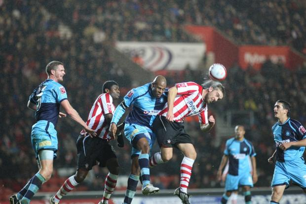 My last game for Wycombe was in 2009 against Southampton in League One and here I'm getting the better of one Ricky Lambert, who went on to play for England. We lost that game 1-0 and overall, my spell with Wanderers was not the happiest