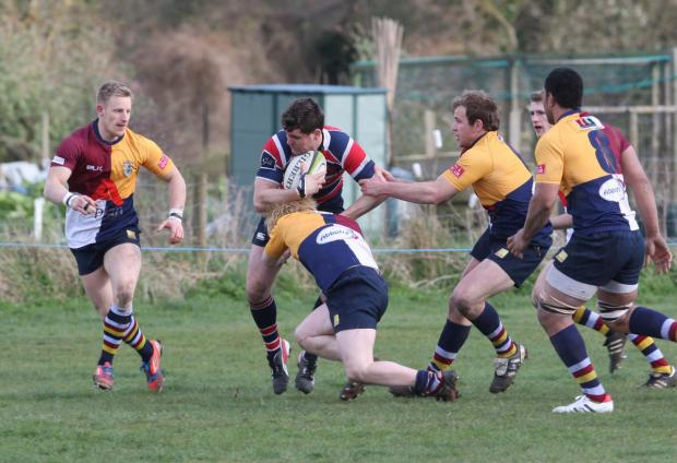 Grove's Henry Day, seen here during their 29-25 victory over Oxford Harlequins, moves from fly half to centre for their trip to Reading
