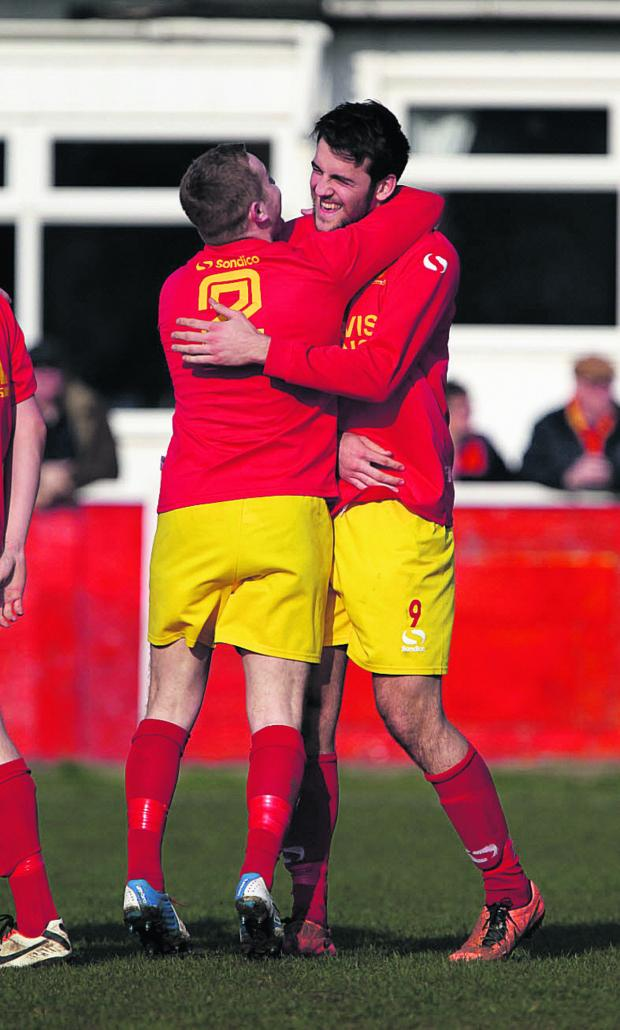 Oxford Mail: Albi Skendi (right) celebrates putting Banbury ahead
