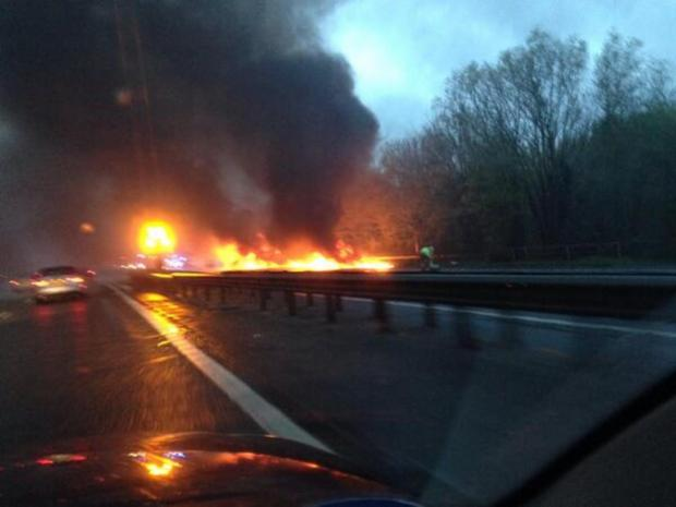 The coach on fire, taken by reader Oliver Jobson