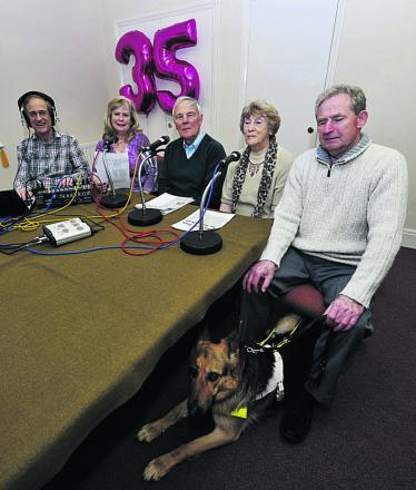 Witney Talking News members, from left, Graham Diacon, Debi Diacon, Peter Bee, Doreen Turner, Mike Grantham and Gabi the dog