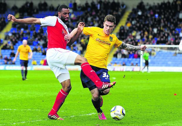 Oxford Mail: Oxford United's Josh Ruffels, seen being challenged by Fleetwood Town's Nathan Pond during last Saturday's 2-0 defeat, says Oxford have it all