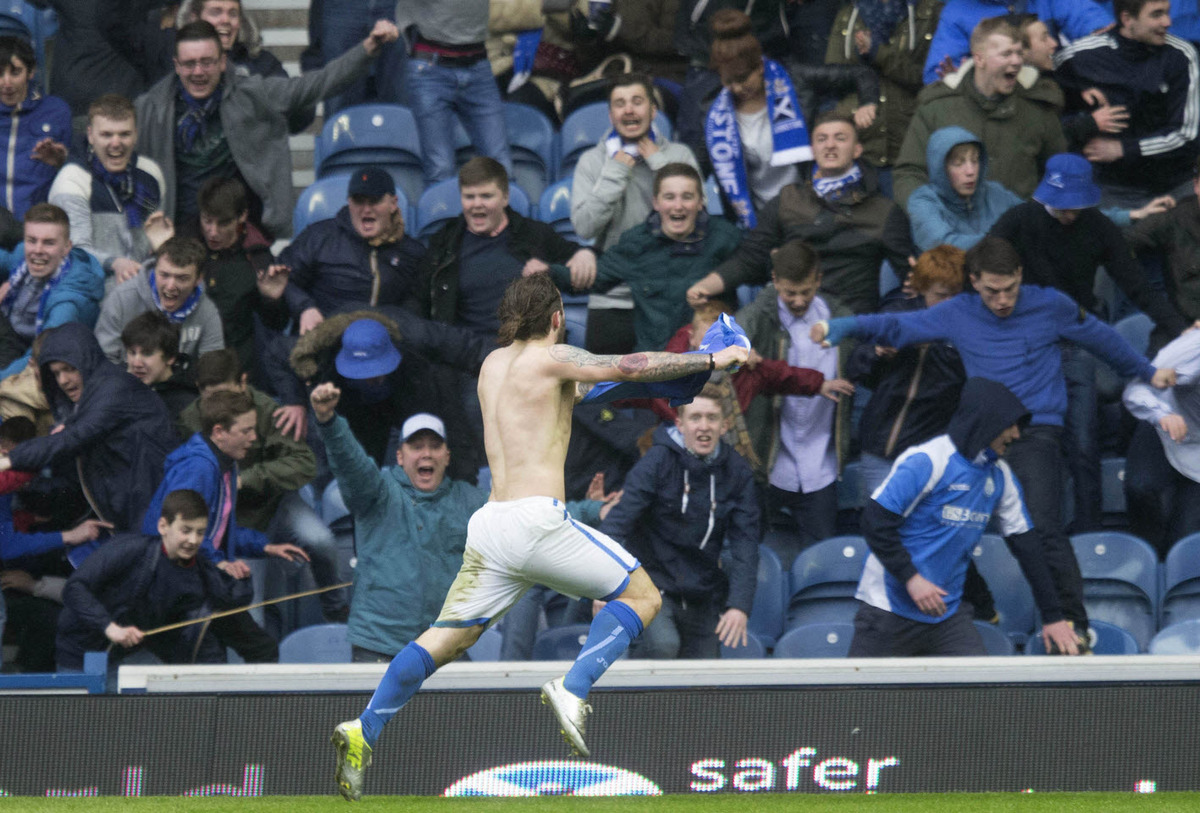 Stevie May celebrates St Johnstone's winner against Aberdeen
