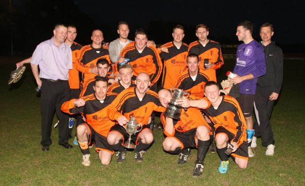 The George celebrate their success in the Premier Cup final after a 3-1 victory over Union Street
