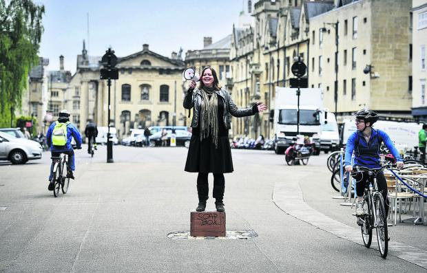 Oxford Mail: Michelle Walker, of Oxford Playhouse, gives the Broad Street soapbox a test run