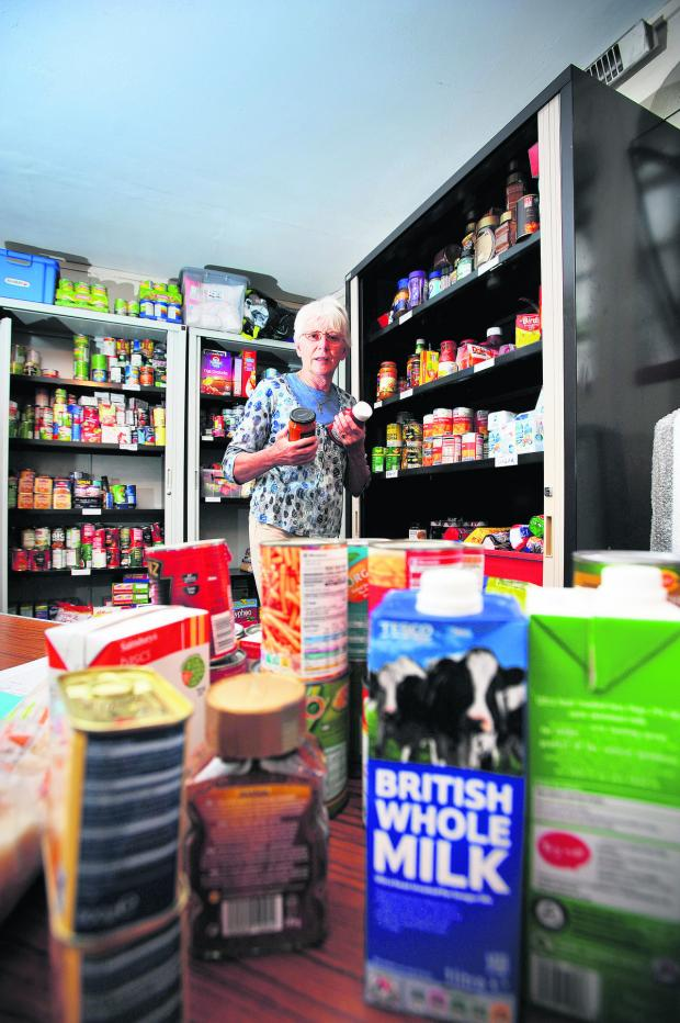 Oxford Mail: The Community Emergency Foodbank is feeding ever-increasing numbers as the recession continues. Pictured is organiser Jane Benyon