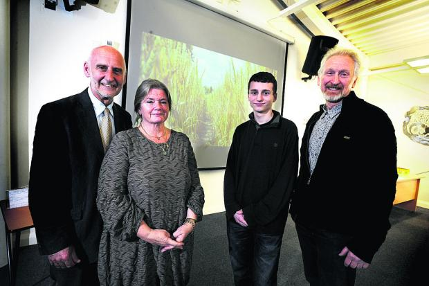 HONOURED: From left, Dr John Hemingway and his wife Sue, Cameron Small and one of the judges Miles Waters