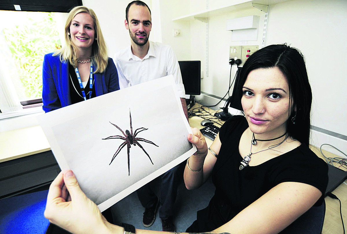 Arachnophobia: Trainee clinical psychologist Mareike Suesse, left, with neuroscientist student Reinoud Kaldewaij and Megan Cowles, who took part in the study