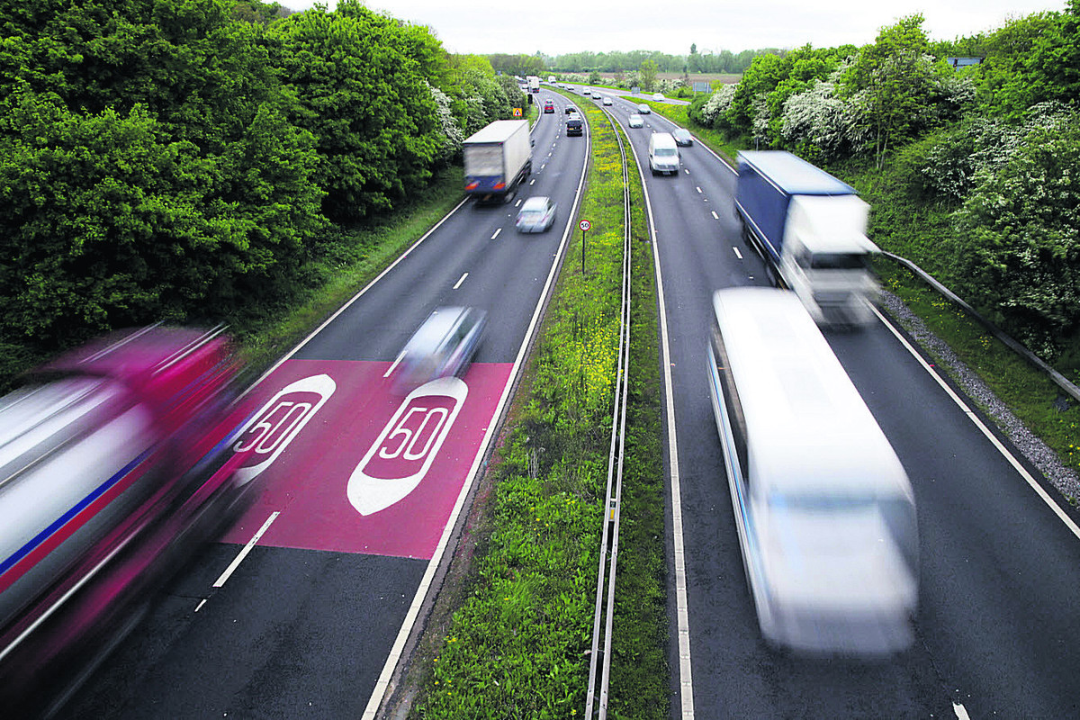Zooming along: Traffic on the A34, pictured from the Botley bridge