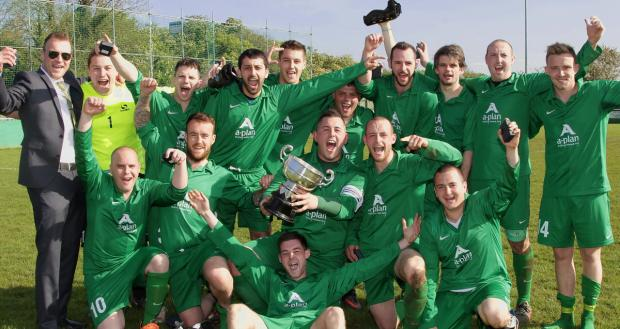 Original Swan celebrate with the Couling Cup after their sparkling 4-0 victory