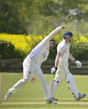 Great & Little Tew's Joe White during his spell of 2-26 against Horspath