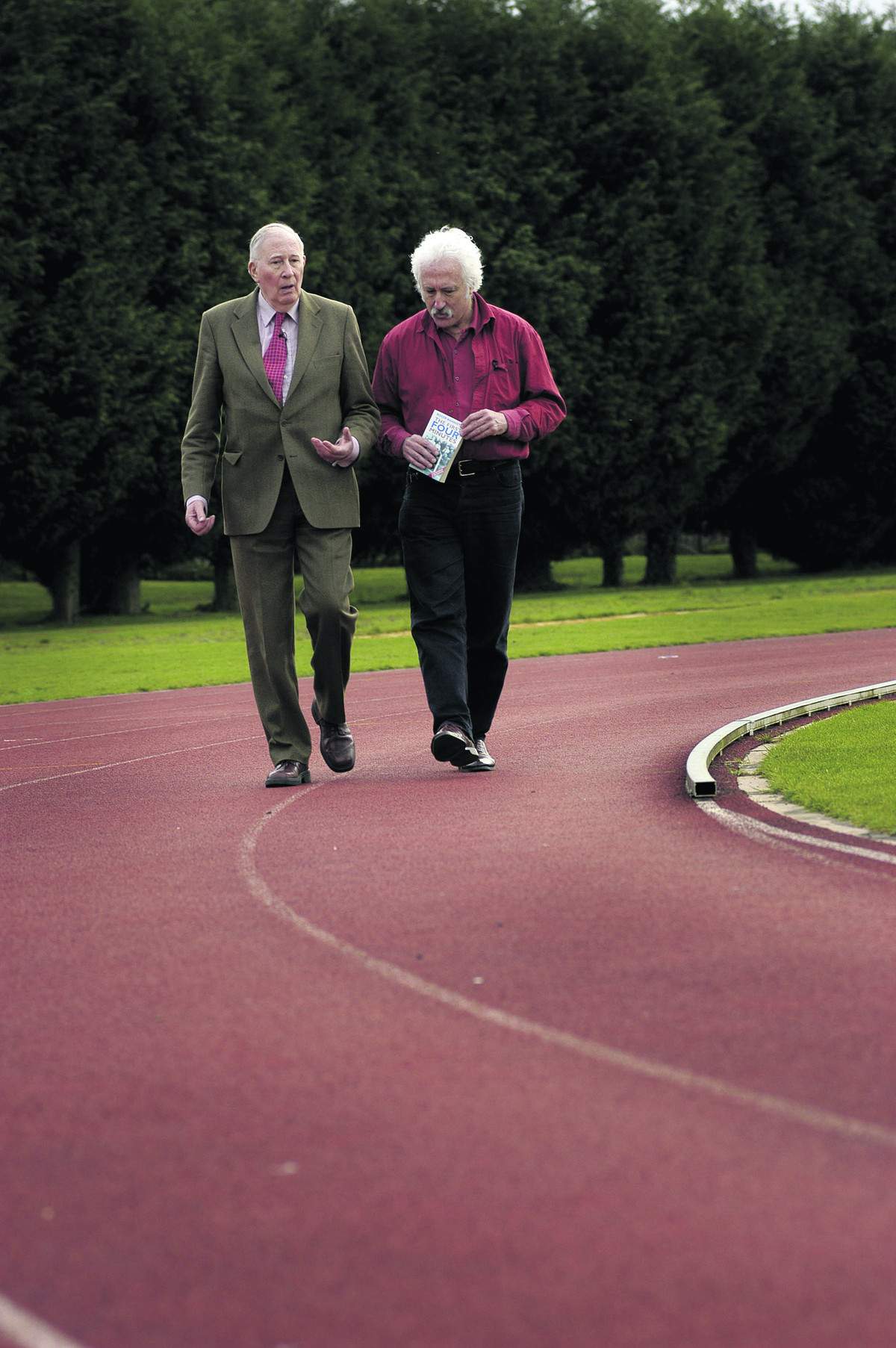 Bill Heine interviews Sir Roger Bannister at Iffley Road running track in 2004