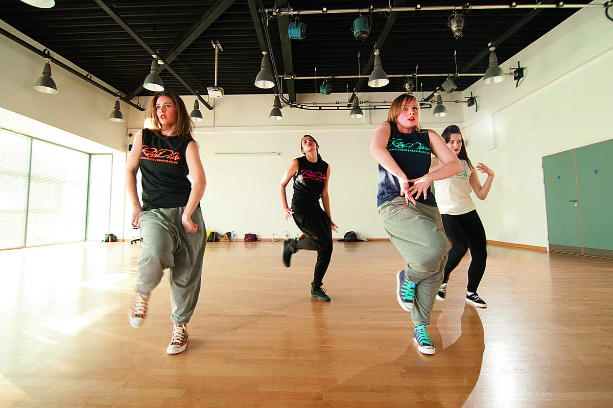 ance group Raw Diva in rehearsal for its Charity Showcase in aid of Mabel Prichard Special Needs school in Blackbird Leys.  Lisa Clarke right, blue tshirt, Jen Middleton, founder, front left