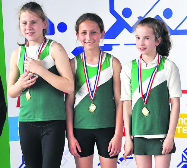 The Manor's under 10 team. From left: Florence Miller, Jasmine Stanmore, Georgie Halfhead