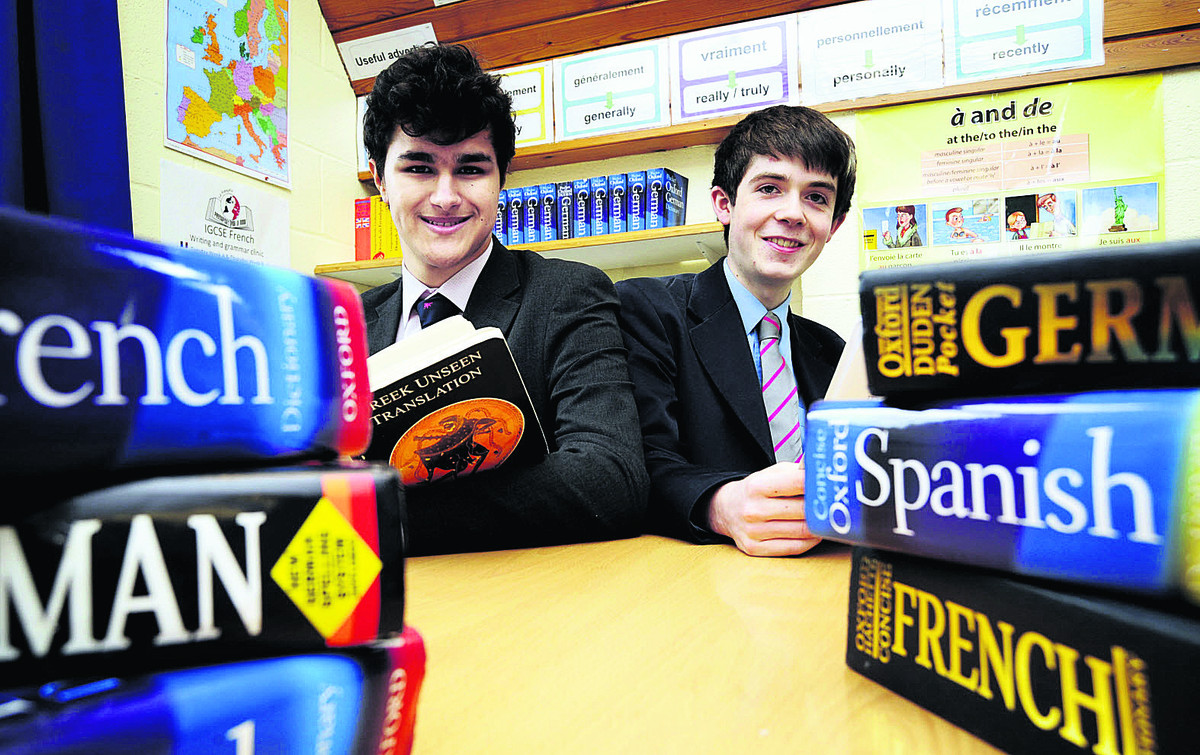 Oliver Sayeed, left, who is off to Beijing to represent the UK in the International Linguistics Olympiad, and Antony Bracey, 16, who just missed out on a place