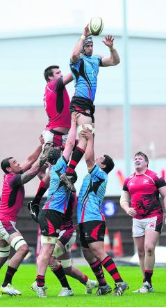 London Welsh club captain Matt Corker, seen claiming this line out ball against