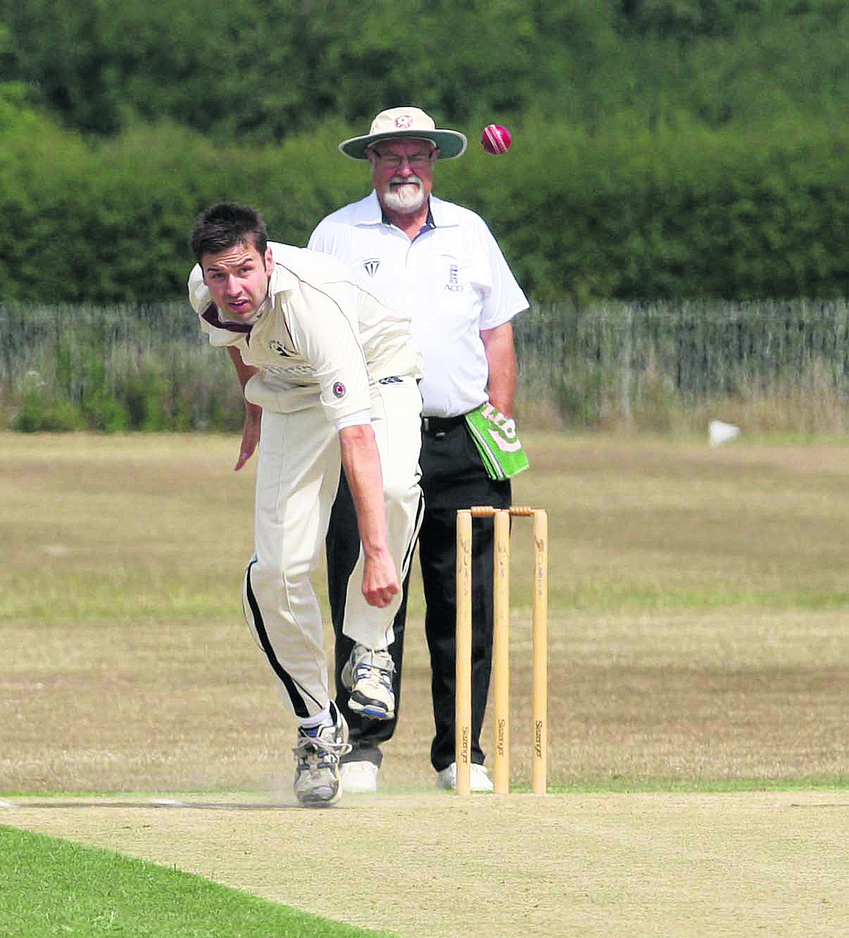 Liam Manley took five wickets in six overs