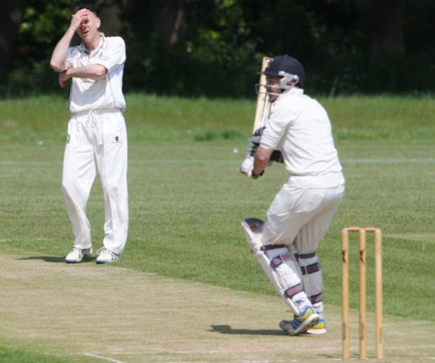 Thame's Ian McStay can't believe he hasn't taken Adam Hall's wicket