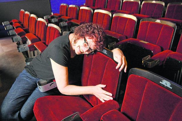 Becky Hallsmith enjoys the new seats at the Ultimate Picture Palace. Picture: OX67308 Antony Moore