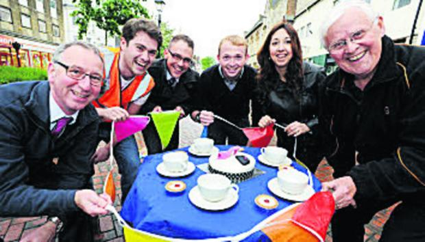 From left, Sainsbury's manager Vince Brimble, Nathan Sinclair, Liam Farrell from the Halifax, Jason Slaymaker, Dimitra Boakye-Yiadom from the Halifax, and Mike Buckmaster