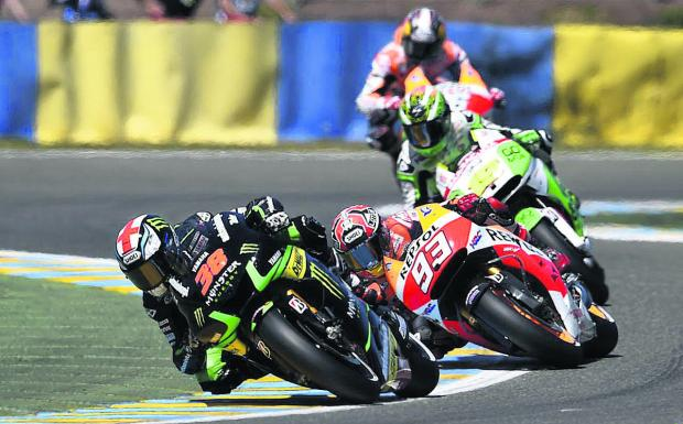 Oxford Mail: I battle it out with Marc Marquez (93) during last weekend's French Grand Prix Le Mans where I was disappointed with my   tenth-placed finish, having been fourth fastest in practice. I'm hoping for better luck at the Italian Grand Prix