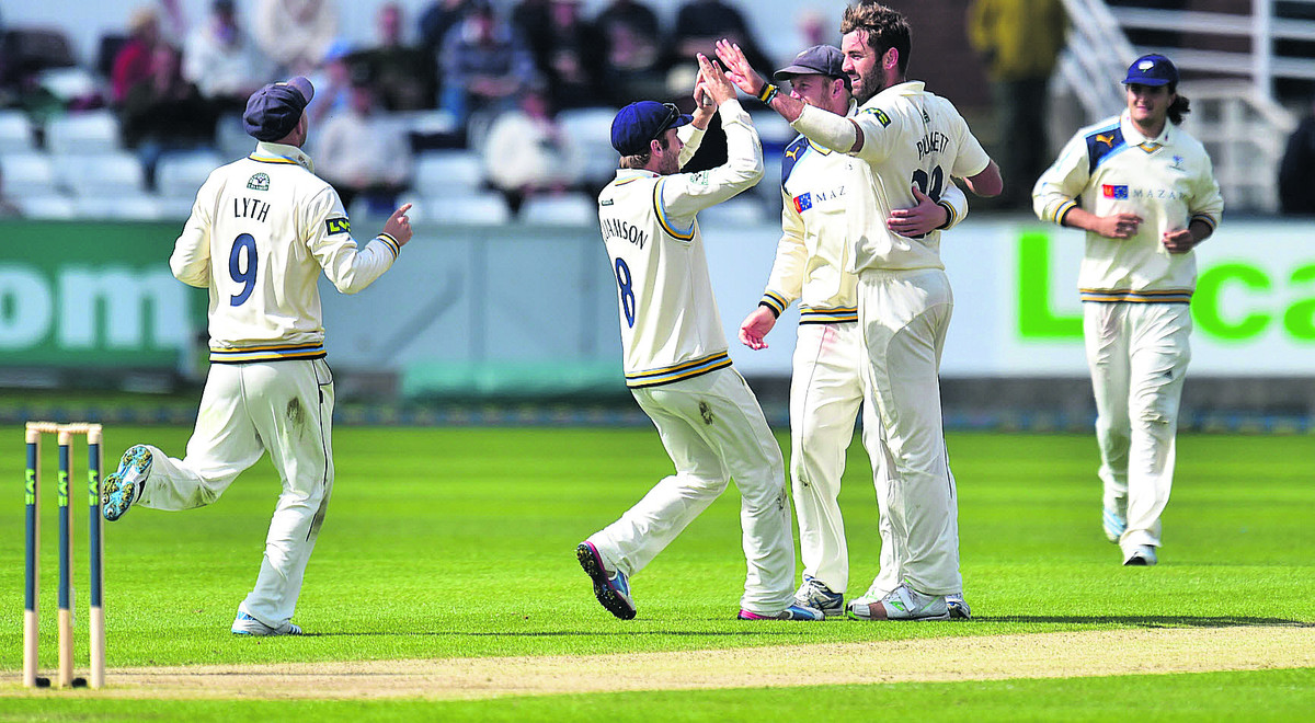 Liam Plunkett must be close to a recall for England after a superb start to the season. Here he is celebrating a wicket against Durham. In case you're wondering, that handsome chap strolling in from the boundary is yours truly