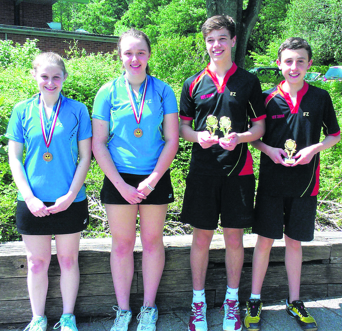 Medals galore (from left) Kezia Lawson, Megan Ready, Dan Blair, Ben Roberts