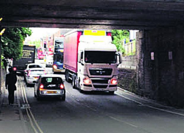 Oxford Mail: The lorry stuck under the railway bridge on Botley Road