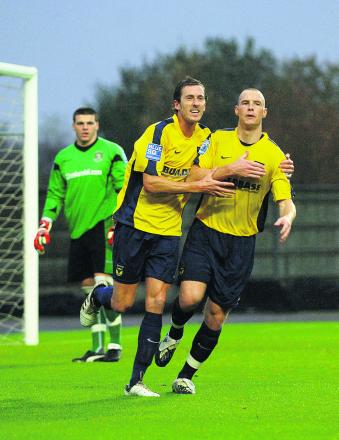 Former U's striker Jack Midson (left) has linked up with old Oxford teammate James Constable at Skrill South champions Eastleigh