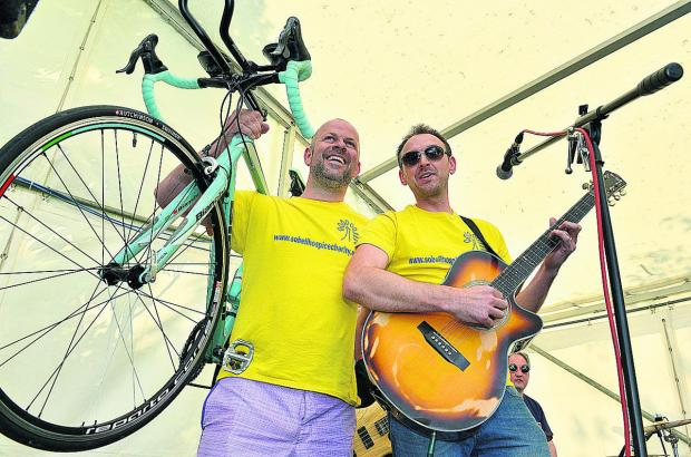 Mark Crick, left, and Neil Barson on stage for their big send-off. Picture: OX67304 Simon Williams