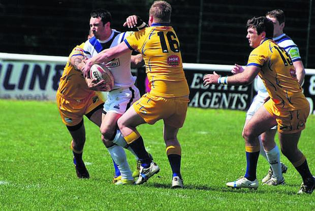 Oxford Mail: Oxford's Andrew Hoggins in full flow against Hemel Stags  Picture: Adrian Smith