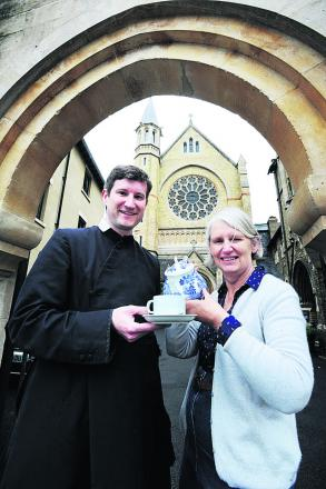 Father Daniel Seward and volunteer Ann Bailey at St Aloysius Church, which is opening a pop-up cafe. Picture: OX67455 Jon Lewis
