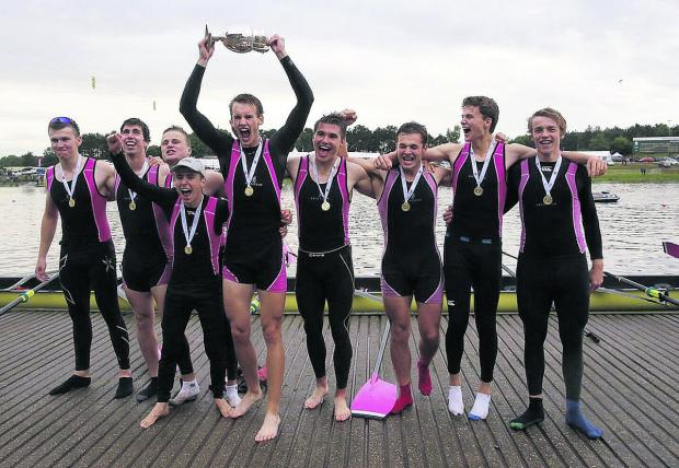 Oxford Mail: Abingdon's successful eights crew are jubilant after their triumph in the Queen Mother Cup at Nottingham (from left): Tom Digby, Henry Lambe, Jack Walsh, Ed Bryant, Luke Derrick, Luke Wiggins, Jack Squizzoni, James Wooding, Jonathan Lord