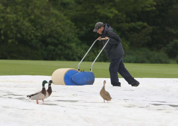 Oxford Mail: Three ducks look on as a groundsman tries in vain to get The Parks ready for last Friday's ab