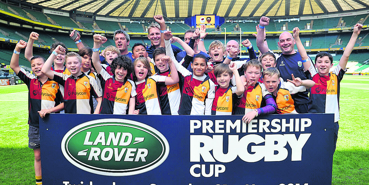 Oxford Harlequins Under 11s celebrate their day out at Twickenham