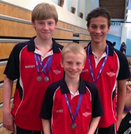 Oxford City's boys breaststroke medallists at the regional championships (from left) Conor Bryan, Theo Cooke and Callum Smart