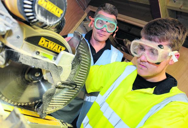Toby Smith, 17, from Kidlington, learns Carpentry Level 2 with Adam Marsh from Ace