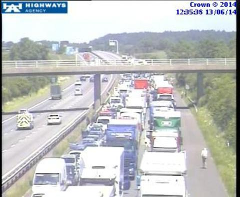 Traffic camera shows delays on M40 after crash