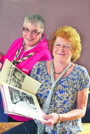 REUNITED: Former Abingdon Scout leader Kathy Hayward, right, with some of the clippings returned to her by Helen Turner, left