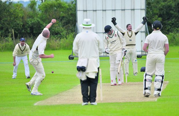 Chad Keegan  shatters Scott Lees's stumps to seal Oxfordshire's 49-run win over Cumberland